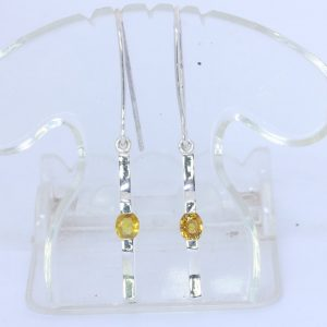 Yellow Sapphire 925 Silver Ladies Earrings Wire Hook Dangle Stick Design 134