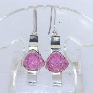 Pink Rubellite Tourmaline Flower Carvings 925 Dangle Hook Earrings Design 134