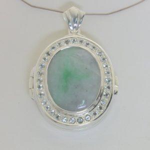 Burma Jade Ceylon White Sapphire Photo Locket Hinged Pendant 925 Oval Design 695