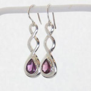 Red Purple Rhodolite Garnet Pear Celtic Knot 925 Dangle Hook Earrings Design 79