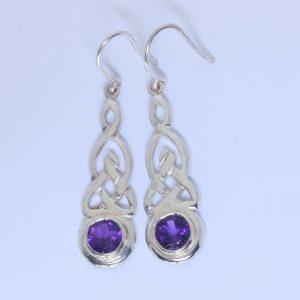 Purple Amethyst Celtic Knot Eternity Symbol 925 Dangle Hook Earrings Design 79