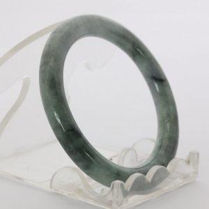 Jade Bangle Burmese Jadeite Comfort Cut Round Stone Bracelet 44.2 mm Size 5.5