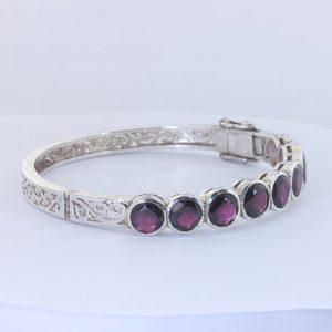 Rhodolite Red Purple Garnet 925Hinged Bangle Bracelet 54 mm 6.7 inch Design 305