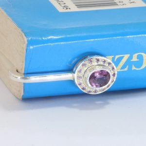 Pink Purple Burma Oval Spinel Pink Sapphire Halo Sterling Bookmarker Design 550