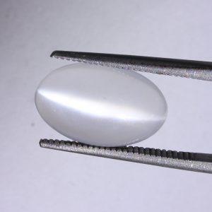White Moonstone Cat's Eye Oval Cab 15 x 9.5 mm Untreated India Gem 4.05 carat