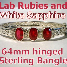 Ladies Bracelet Ruby and Sapphires Handmade Sterling Silver Hinged Bangle 64mm