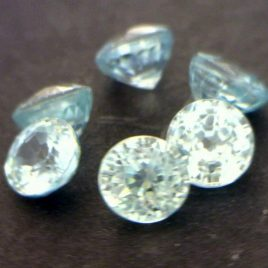 One Light Blue Zircon Gemstone 3.8 mm Round Well Faceted Averages .42 carat each