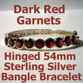 Ladies Dark Red Purple Garnet Bracelet Handmade 925 Silver Hinged Bangle 53mm