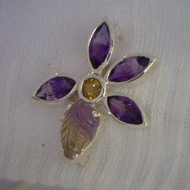 Amethyst and Citrine Flower Ametrine Leaf Handmade 925 Silver Brooch Ladies Pin