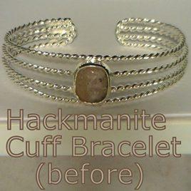 Hackmanite Gemstone Handmade Sterling 925 Silver Cuff Unisex Bracelet