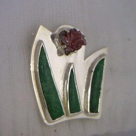 Spinel Flower and Maw Sit Sit Leaves Handmade Sterling Silver Brooch Ladies Pin