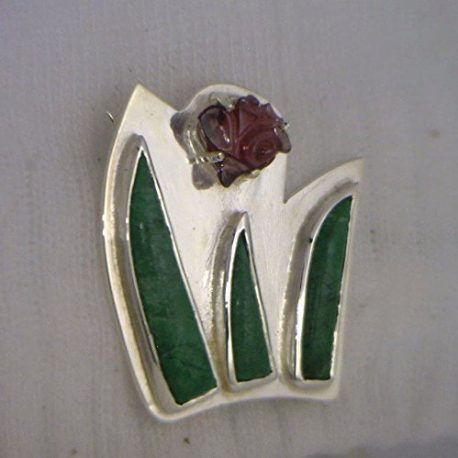 Spinel-Flower-and-Maw-Sit-Sit-Leaves-Handmade-Sterling-Silver-Brooch-Ladies-Pin-B01DP0C7LQ