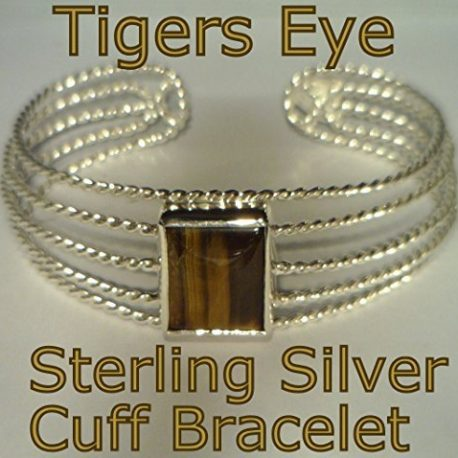 Tigers-Eye-Gemstone-Handmade-Sterling-Silver-Cuff-Unisex-Gents-Ladies-Bracelet-B01EXTX7MG